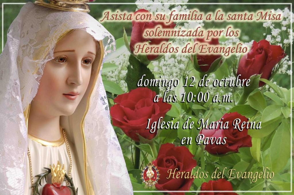 Invitación: Misa domingo 12 de Octubre, iglesia de María Reina