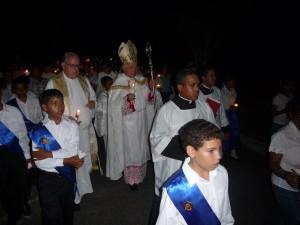 Mons. Józef Wesolowski en la Procesión del Lumen Christi
