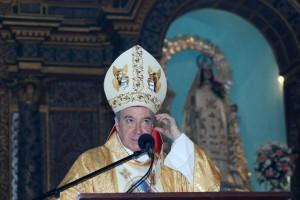 El Cardenal Lopez Rodriguez durante el sermón en la Iglesia de las Mercedes ubicada en la Zona Colonial de Santo Domingo