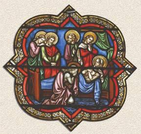 Dormición de María. Vitral de la catedral de Notre Dame de París.