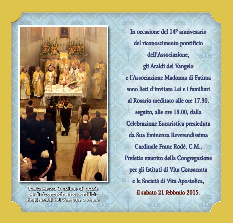 Invito Roma riconoscimento pontificio