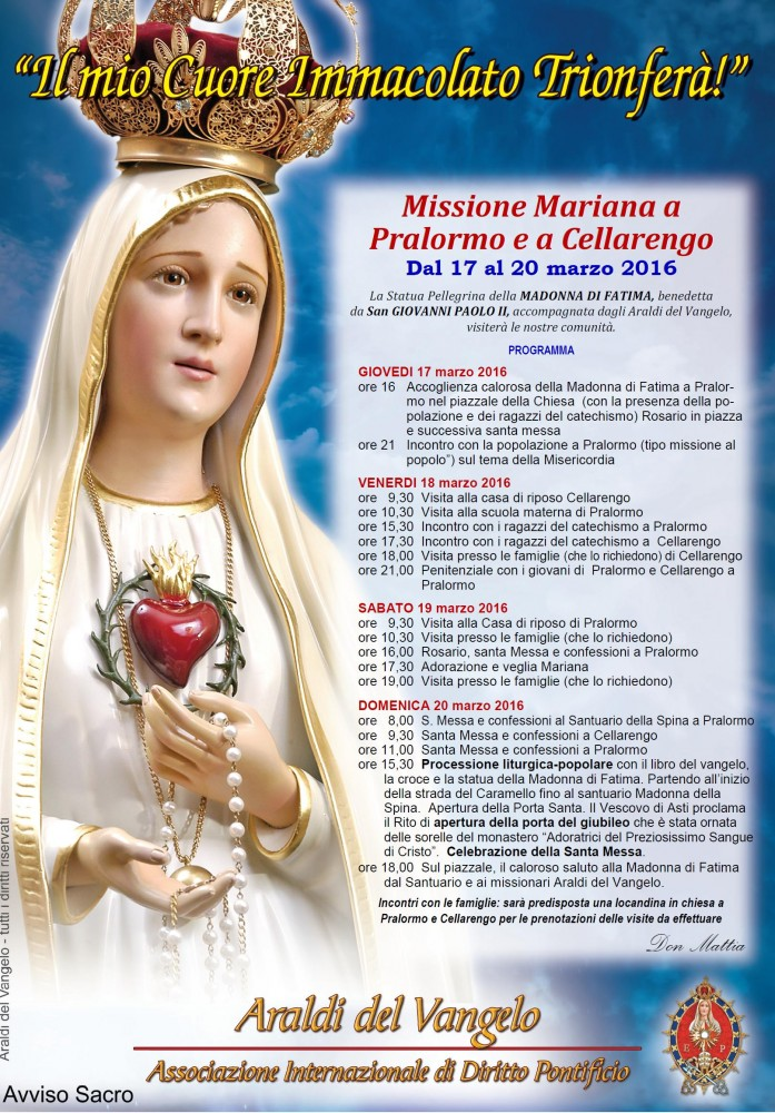 Missione Mariana Pralormo (TO) e Cellarengo (AT).