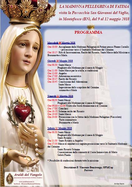 Dal 09 al 12 maggio la Madonna di Fatima sarà a Montefusco - Benevento - in visita alla parrocchia San Giovanni del Vaglio.