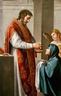 San Giovanni Evangelista amministra la Comunione alla Madonna.