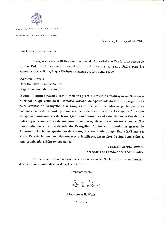 Clique para ver o fac-símile da carta de Mons. Peter B. Wells