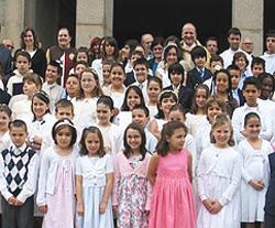 Grupo de catequese, na Igreja das Antas