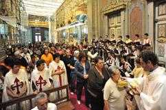 Missa na Igreja paroquial de Valongo