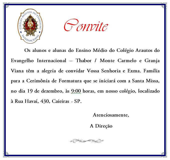 Convite para formatura 2009