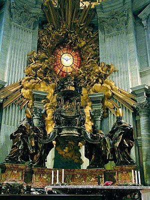 No retábulo, acima do altar conserva-se a própria cátedra que São Pedro usava, em vida, no exercício de seu ministério (Altar da Cátedra de São Pedro - Basílica Vaticana)