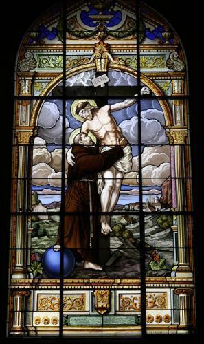"""""""Yo me voy a mi Dios, a cuya gracia os dejo encomendados a todos"""" / Vitral de San Francisco de Asís en la Catedral de Costa Rica."""