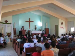 Durante una de las Misas.