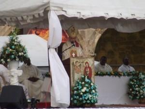 Mons. Amancio Escapa durante la homilía