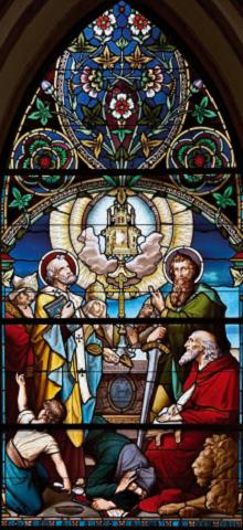 Il Santissimo Sacramento circondato da San Pietro, San Paolo e dai Padri Latini