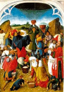 Il popolo ebraico raccoglie la manna nel deserto