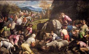 Gli Israeliti prendono l'acqua miracolosa