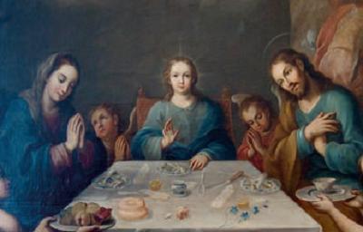 La Sacra Famiglia durante un pasto