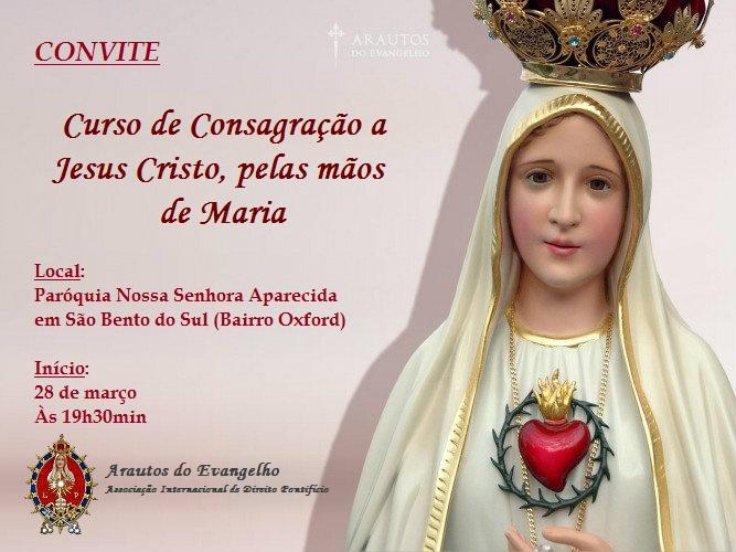 Curso de 'Consagração a Jesus Cristo, pelas mãos de Maria' em São Bento do Sul