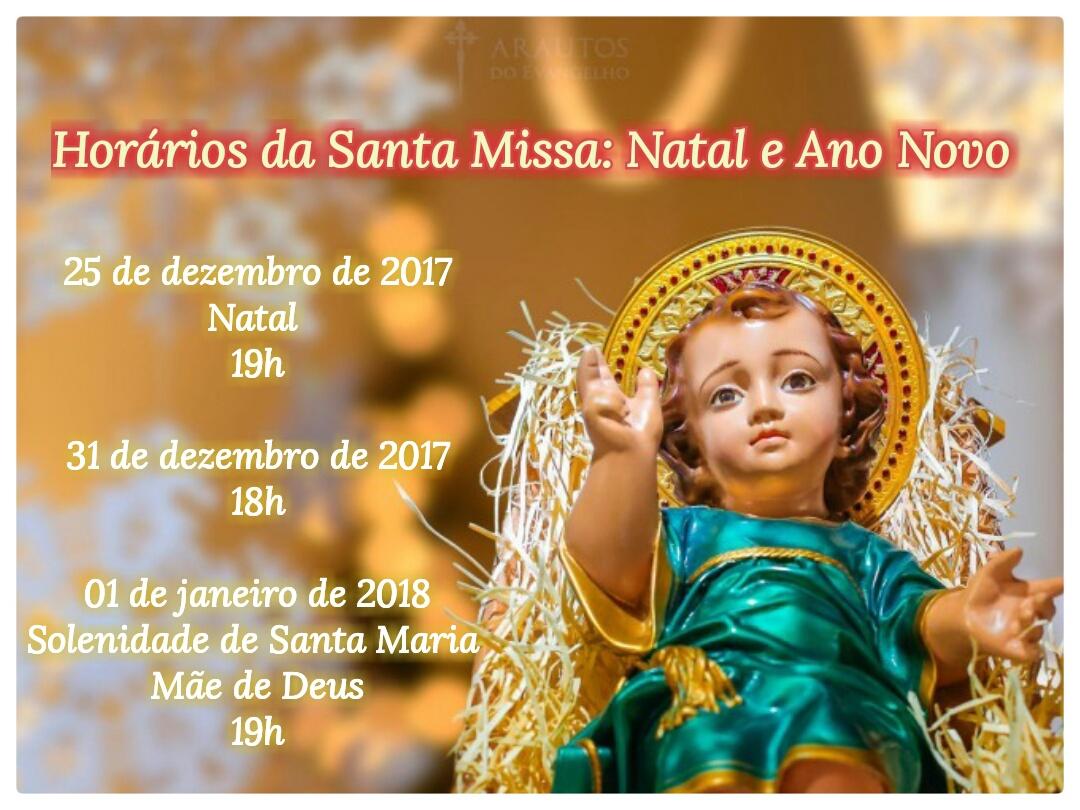 Horários da Santa Missa: Natal e Ano Novo