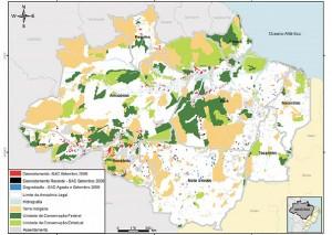 Pontos em vermelho mostram o desmatamento ocorrido em setembro, segundo o Imazon. No mapa, pode-se observar a devastação caminhando do AC e RO para o sul do AM. (Foto: Imazon/Divulgação)